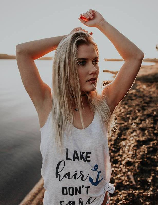 Lake Hair Don't Care~Ladies Tank Top