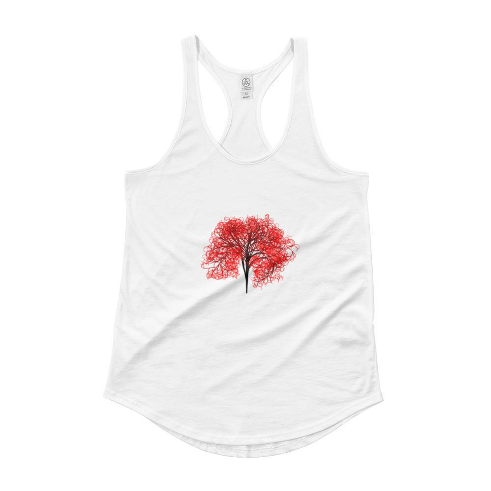 Fire Heart Ladies Shirttail Tank in White from Campton Clothing Co