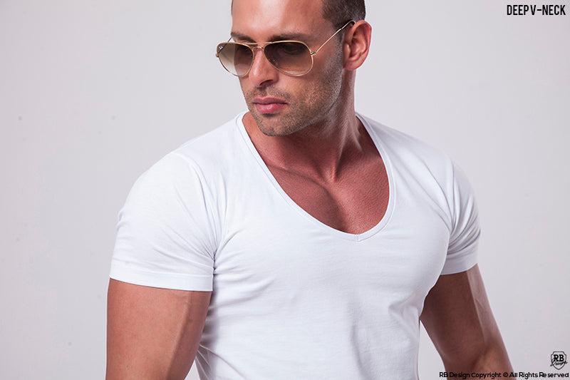 mens white deep v neck t-shirt rb design