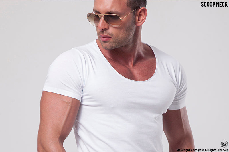 mens scoop neck white muscle fit t-shirt