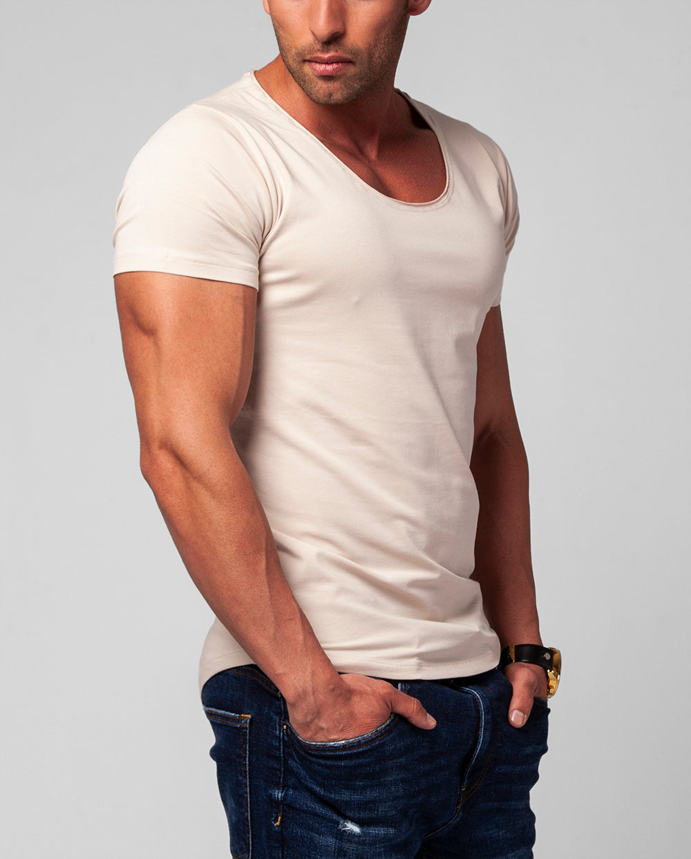 Men's Plain Light Beige Scoop Neck T-shirt - Champagne