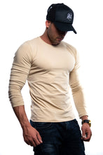Plain Beige Crew Neck Long Sleeve T-shirt