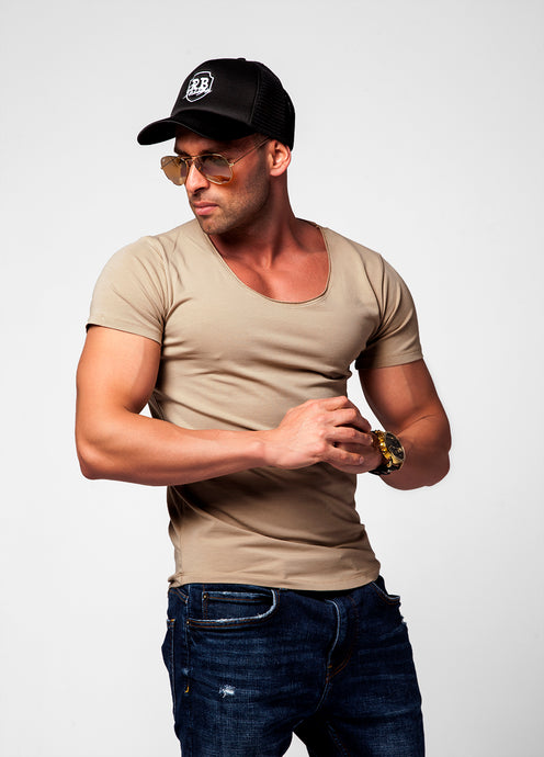 Men's Plain Beige Scoop Neck T-shirt - Cappuccino