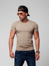 Men's Plain Beige Crew Neck T-shirt - Cappuccino