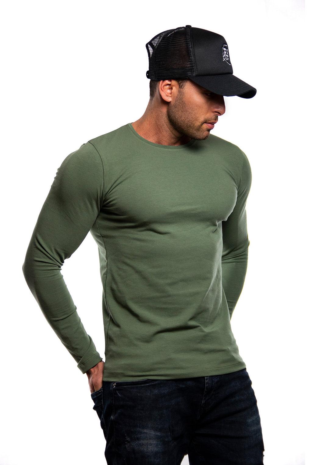 Plain Army Green Crew Neck Long Sleeve T-shirt / Khaki Color