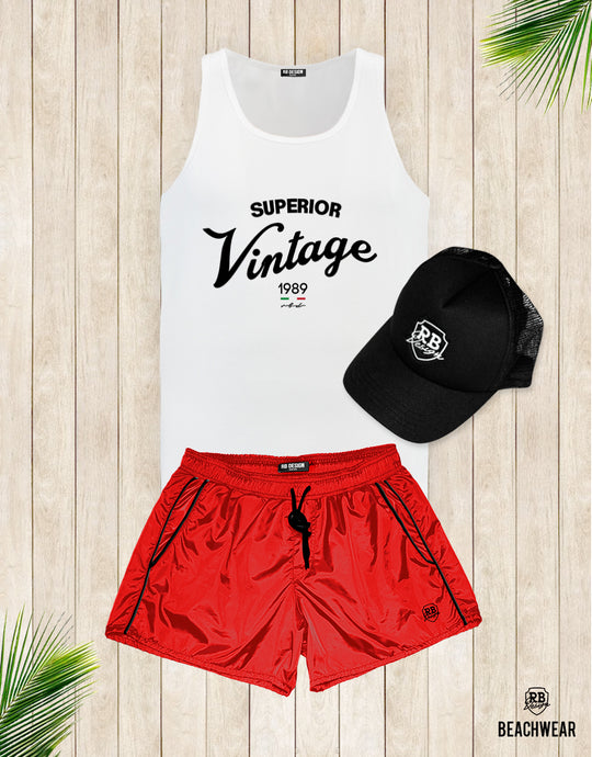 Bundle 3 - Red Beach Shorts + Black Hat White Logo + Tank Top MD934