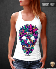 butterflies skull tank top for women