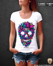 womens butterflies skull t-shirt