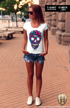 colorful butterfly skull t-shirt
