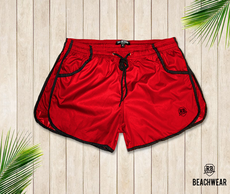 RED Men's Swimming Shorts With Black Borders BW02R