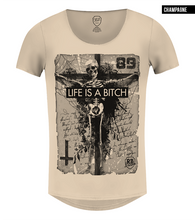 beige skeleton graphic tee