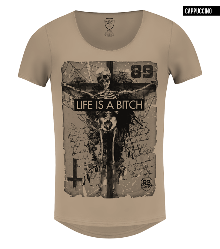 beige skeleton t-shirt