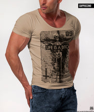 muscle fit scoop neck beige t-shirt