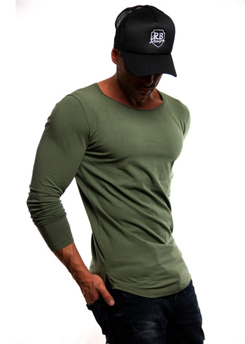 Plain Army Green Scoop Neck Long Sleeve T-shirt / Khaki Color