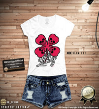 rb design four leaf clover skull t-shirt