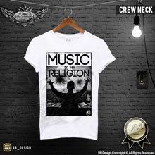 music is religion crew neck mens t-shirt