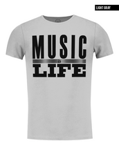music is life graphic tee crew neck