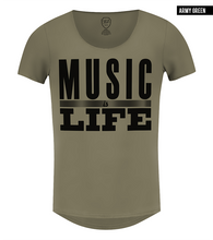 music is life khaki t-shirt