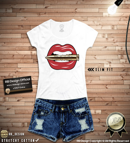 05645f4f845f03 Bite The Bullet Women's Lips T-shirt Ladies Tank Top WD109 Pink. RB Design.  $21.99. red lips t shirt