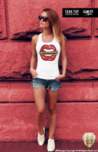 womens red lips tank top