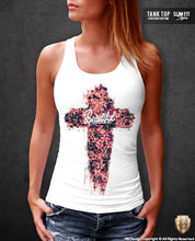womens flowers cross tank top
