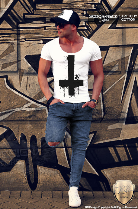 inverted cross mens fashion t-shirt