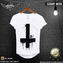 black cross mens scoop neck tees