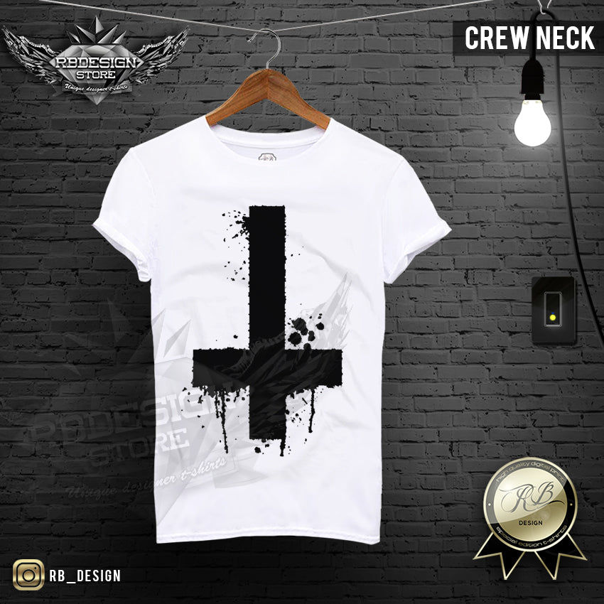 5a58eb9e79c Inverted Cross T-shirt Mens Trendy Ink Splashes FX Print Top MD122 – RB  Design Store