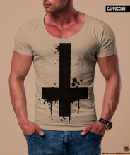 Men's Inverted Cross Graphic Tee Army Green Light Gray Top / Color Options/ MD122