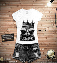 Like a Boss Womens T-shirt Trendy Cat Lover Tank Top WD151