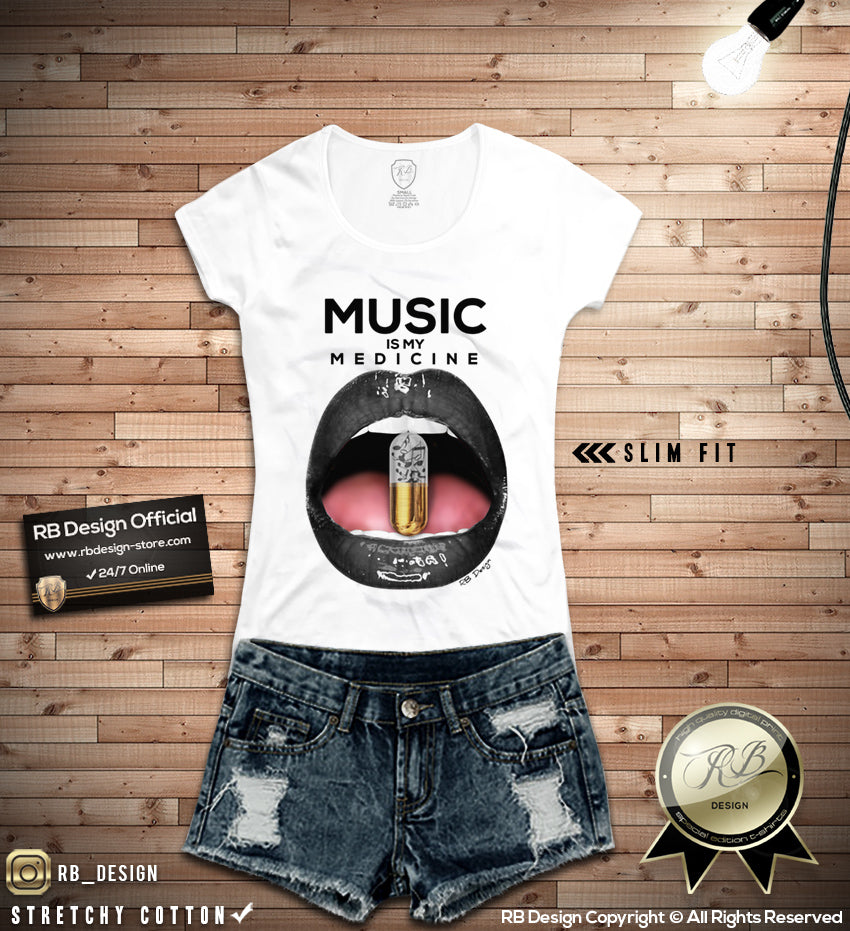 c6a93510 Music Is My Medicine Women's T-shirt Lips Ladies Festival Tank Top WD1 – RB  Design Store