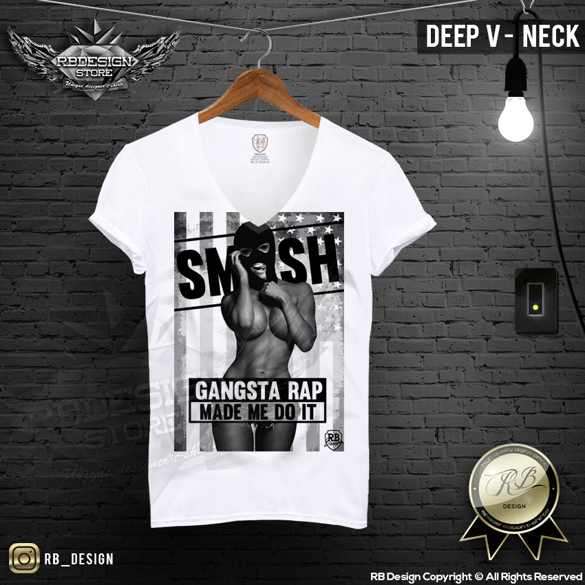 Mens Sexy Gangster Girl T-Shirt Gangsta Rap Made Me Do It Md170 Black  Rb Design Store-5696