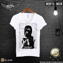 deep v neck pistol girl t-shirt