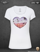 Women's Heart T-shirt Paradise Palm Trees Graphic Top WD194