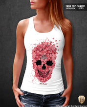 flowers skull tank top for women