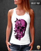 pink flower skull tank top for women