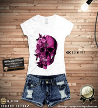 womens flowers skull tee shirts