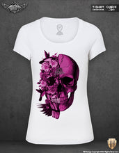 womens flowers skull t-shirts