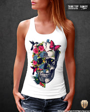 Women's Floral Flowers Skull T-shirt Half-life Graphic Tank Top WD220