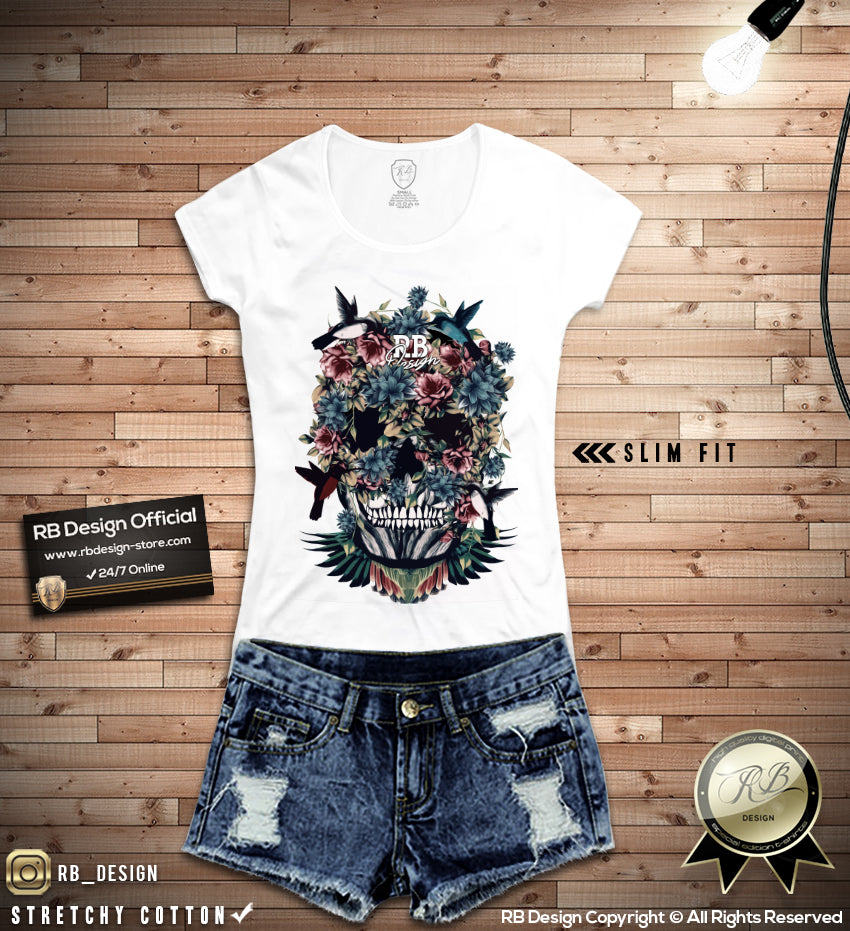 Floral Flowers Skull Women S T Shirt Hummingbird Tank Top Wd225 Rb