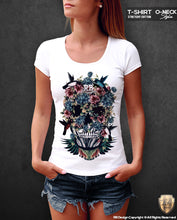 rb design flowers skul t-shirt