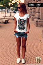 womens skull t-shirt floral flowers
