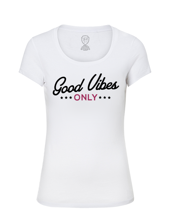 Good Vibes Only Ladies T-shirt  Summer Beach Top Stylish RB Design Tee Shirt WD233 Pink