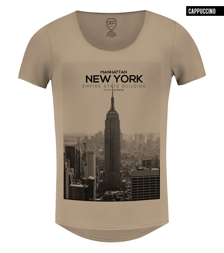 beige new york scoop neck t-shirt