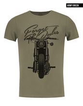 khaki mens crew neck bike t-shirt