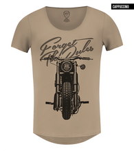 beige motorcycle graphic t-shirt