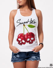 Sweet Life Cherry Skulls Womens T-shirt Street Fashion Ladies RB Design Tank Top WD280