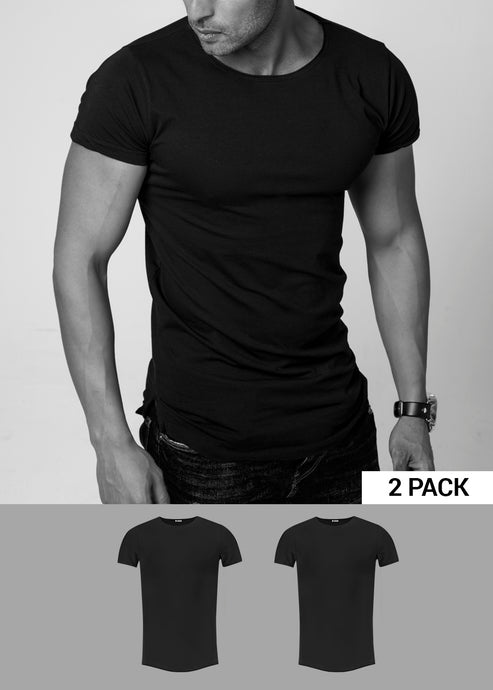 2 Pack Men's Plain Black Round Neck T-shirt - Longline