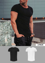 2 Pack Black and White Men's Plain Round Neck T-shirt - Longline