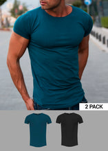 2 Pack Plain Ocean Blue and Black T-shirts - Round Neck Longline